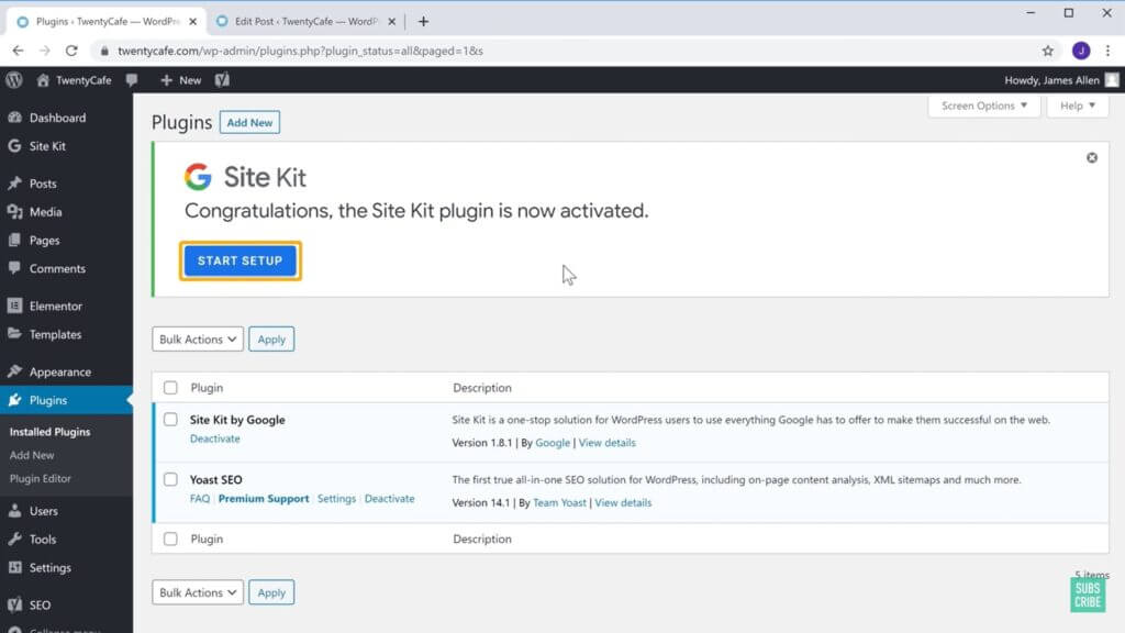 Install the plugin named Site Kit by Google.