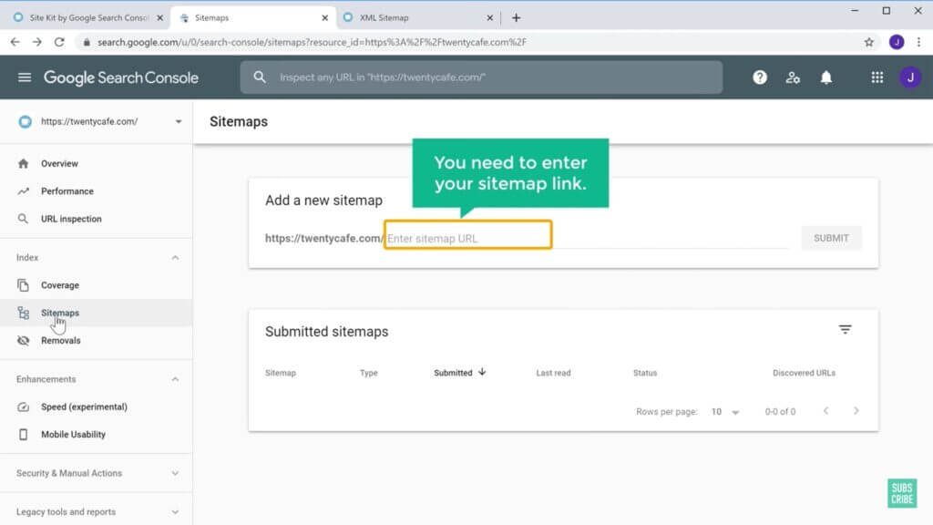 Now your site is successfully connected to Google. Also add the Sitemap of the website to the Google Search Console.