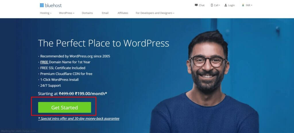 Visit the BlueHost Website Homepage and Click Get Started Button.