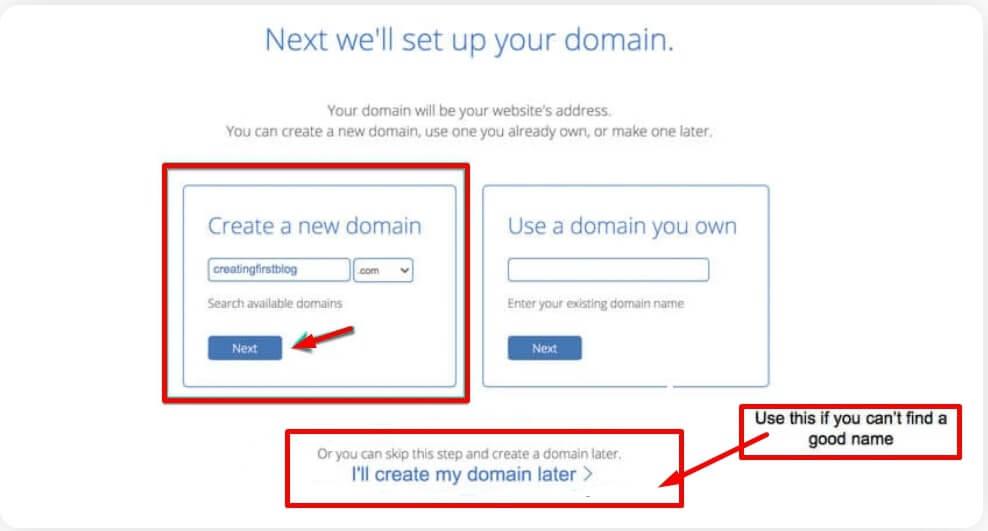 3. Setup your Domain name.