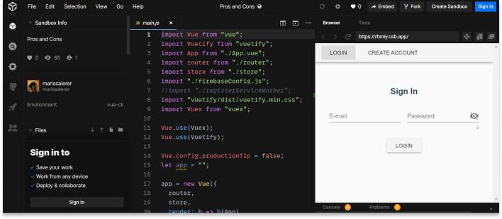 Codesandbox screenshot