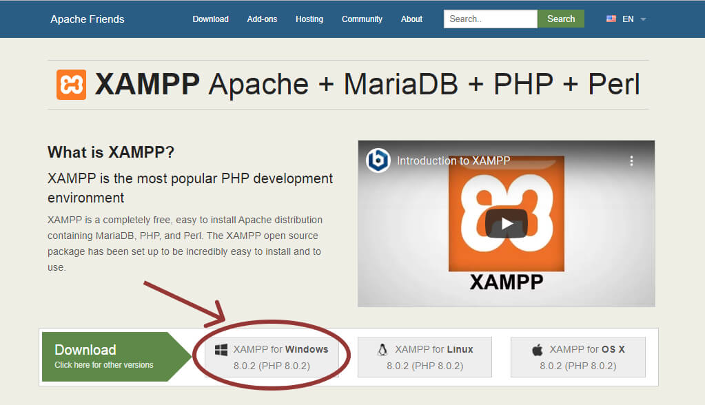 Step 1: Download XAMPP. This is the very first step for starting WordPress in localhost. You can download the XAMPP application for free from Apache Friends. It's a big file, about 110mb, so it might take some time depending on your internet connection. Download XAMPP according to your operating system as we are currently using windows we will download windows version of XAMPP.
