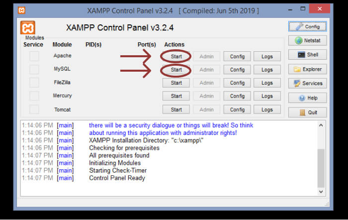 Launch XAMPP control panel app.