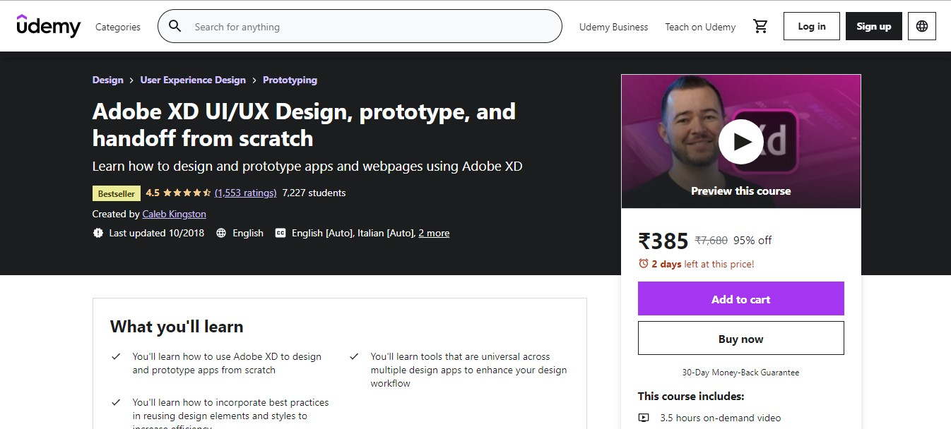 Adobe XD UI/UX Design, prototype, and handoff from scratch